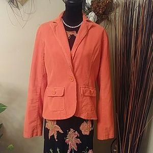 L.E.L. Orange Corduroy Blazer Sz med